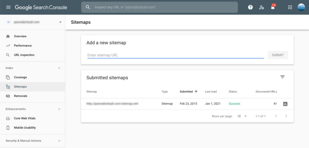 Google Search Console displaying a submitted sitemap