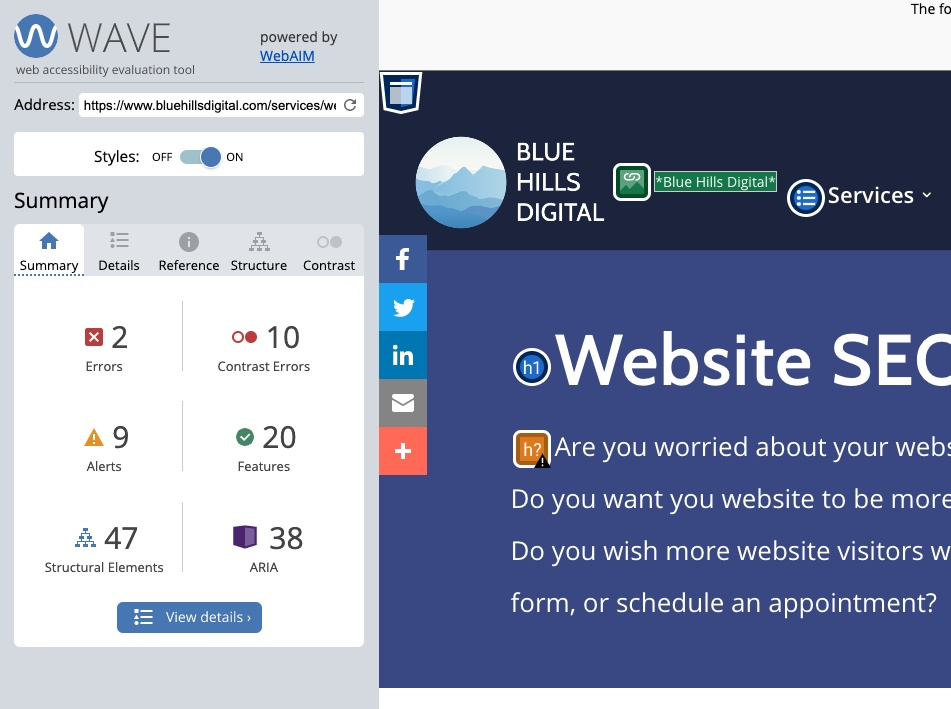 Accessibility report generated by WAVE WebAIM tool